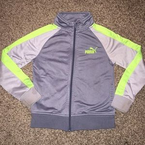 Puma Gray and Lime Green Long sleeve zipup sweater
